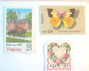 Love Virginia Wedding Stamps, Butterfly - Vintage Williamsburg - Pink 'n White Floral Postage, Mail 20 Wedding Invitations, 2 oz 71c stamps