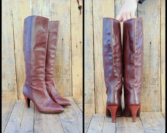 oxblood leather boot Tall Leather Boots Us 6 tall boot Uk 4 tall boot Eu 36 tall boot Knee High Boots Spike Heel Boots JAPAN high heel
