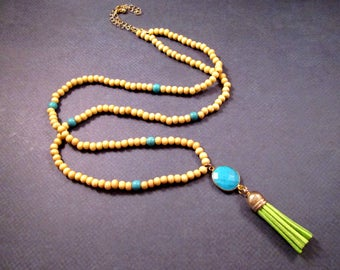 Green Suede Tassel Necklace, Turquoise Pendant Necklace, Wood and Stone Beaded Necklace, FREE Shipping U.S.