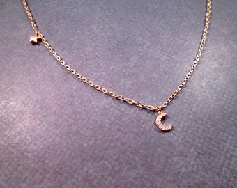 Crescent Moon and Star Necklace, Crystal Pave Rhinestone Pendant Necklace, Rose Gold Chain Necklace, FREE Shipping U.S.