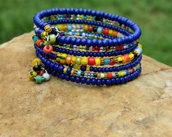 African Christmas Beads and Czech Bead Boho Bangle