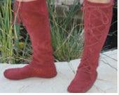 Earthgarden handmade knee high boots in red