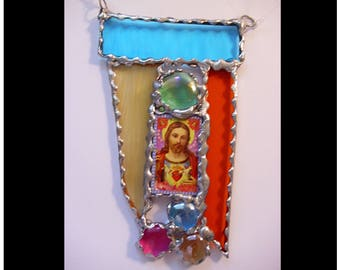 Sacred Heart of Christ, stained glass suncatcher, mixed media art