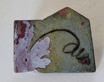 Enamel Lapel pin - OOAK - Vitreous enamel with botanical design