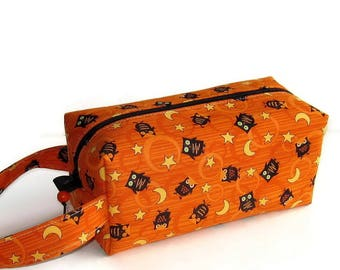 Boxy Bag Knitting Project Bag - Little Black Halloween Owls