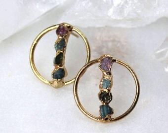 tourmaline earrings, gold earrings, modern earrings, raw tourmaline earrings, post earrings earrings, hoop earrings, october birthstone