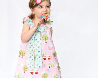 Girls Camper Dress- Girls Dress - Girls Summer Dress - Girls Sundress - Vintage Camper Dress - Girls Vintage Dress -Girls Simple Dress -