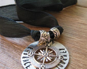 Embrace Your Journey Necklace, Compass Necklace, Silk Ribbon Necklace, Graduation Necklace, washer, customize text, ribbon color, choker