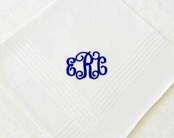 PERSONALIZED EMBROIDERED  Mans' Handkerchief with Monogram