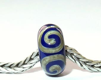 Luccicare Lampwork Bead - Royal Ornament -  Lined with Sterling Silver