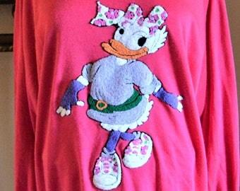"80's Daisy Duck Sweatshirt 38""- 48"" chest Rare ,Vintage, Disney Cartoon Patch Sunday Comics ,Crew Neck ,Animation"