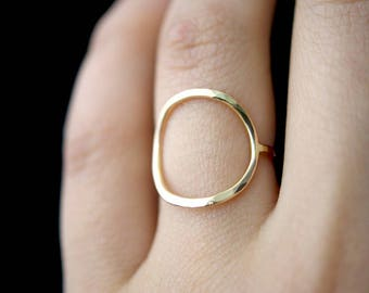 SOLID 14K Gold Thick Circle Ring, gold circle ring, skinny or thick gold circle ring, 14k gold circle ring, hammered gold infinity ring