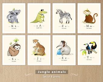 Jungle themed nursery, Jungle animals print set, Jungle animals, Jungle animals nursery, Jungle creatures, Jungle creatures set of 8 prints
