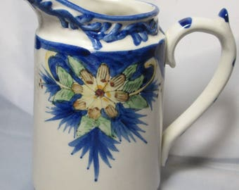 Vintage Hand Painted Blue Floral White Cream Pitcher