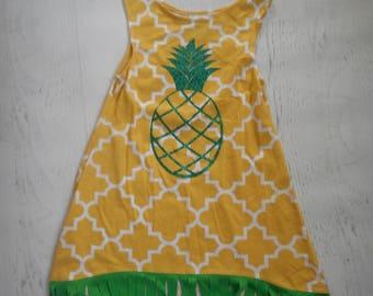 Yellow Knit Quatrefoil Pineapple Dress with Green Knit Fringe, Hi Lo hem Tunic Dress