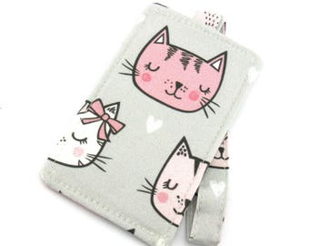 Kitty Cat Love Heart Fabric Travel Luggage Tag - Bag Tag - Travel Accessories - Gift for Traveler - Fun Gift