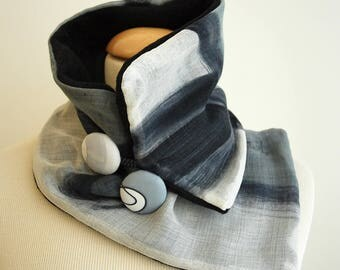 Hand painted Silk & Wool Neck Warmer-28x7 in.Ideas for her.Scarf neck warmer. Giveaways. Gifts for her. Gifts for him