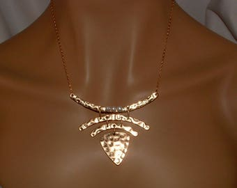 Hammered Gold Art Deco Pendant Necklace Wire Wrapped Pearls Geometric