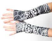 Grey and white arm warmers, Patchwork jersey armwarmers, Black and grey floral fingerless gloves, Gray wrist warmers, Gift for women, MALAM