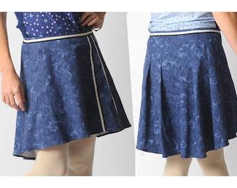 SALE Blue assymetric skirt, Swirly blue denim short skirt, Blue womens skirt with back pleats, sz UK 12
