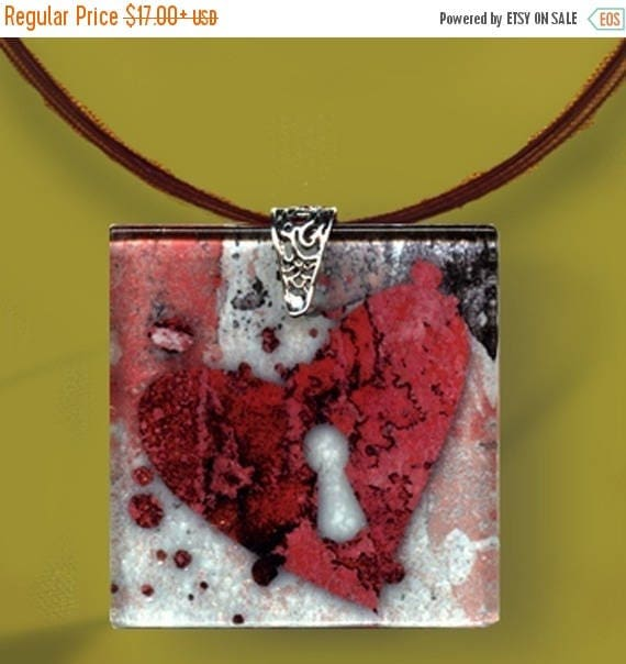 Keyhole Heart Necklace - GeoForms - Reversible Glass Art  - Abstractions of the Heart