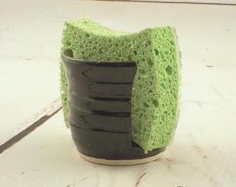 Ceramic Sponge Holder - Gloss Black - Handmade Stoneware Sponge Dryer - Small Cup Dispenser - Kitchen Essential Item - Ready to Ship h489