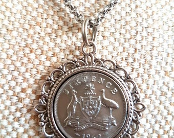 Vintage Australian sixpence coin pendant / vintage 1962 coin / petite silver pendant / steel belcher chain / upcycled jewelry/ coin jewelry