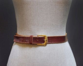 Vintage Simple Brown Snakeskin Leather Belt Classic Waist Belt Brown Waist Belt, Women's Size Small, Brown Leather Cinched Waist Gold Buckle