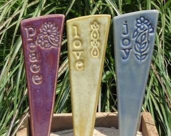 Peace, Love, Joy - Garden Marker Trio - READY TO SHIP