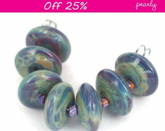 Pearly Multicolure Lampwork beads (7) SRA