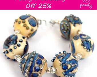 Pearly Round Metallic Stones Lampwork bead(6)SRA