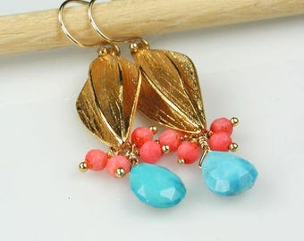 Turquoise Coral and Gold Long Dangle Earrings