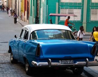 Photograph Cuban classic car street scene blue turquoise white vintage car Havana travel photo art wall decor original art