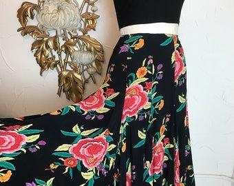 Norma kamali skirt black floral skirt crepe skirt size small designer skirt vintage skirt 27 waist bias cut skirt tropical skirt