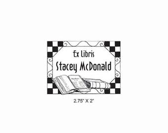 Xmas in July Checkerboard Tile Border Ex Libris Bookplate Rubber Stamp O19