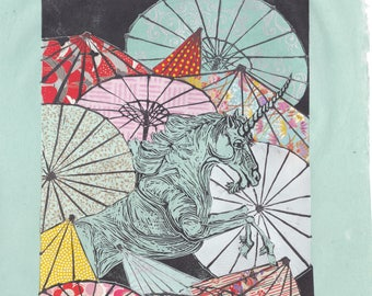 Unicorn Amongst Umbrellas XXXV- Multimedia - Lino Block Print Unicorn with Collaged Japanese Papers & Ephemera Parasols on Black Washi