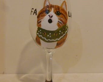 """Meowy Christmas Orange Tabby Cat Wine Glass """"Ginger the Caroler"""" Pet Lovers Boutique Hand Painted"""