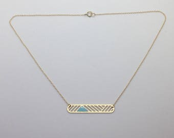 Geometric Laser Cut Bar Necklace Turquoise and Gold Delicate Minimal Jewelry