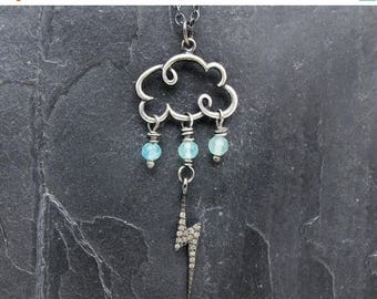 cloud necklace, raindrop pendant, weather jewelry, lightning pendant, pave diamond pendant, Peruvian opal, cloud jewelry, meteorology gift