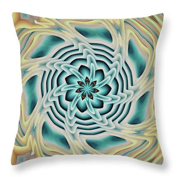 Blue Kaleidoscope Throw Decorative Designer Artist Created Pillow 18 inch Square with Zipper and Insert