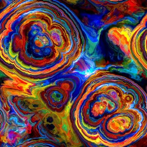 Vibrant Agate Handmade Artist Cotton Art Quilting Fabric Fiber Art Mixed Media Fabric
