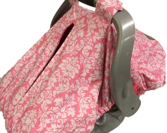 Fitted Car Seat Canopy~Pink Damask~ Pink Minky Interior~Girl Car Seat Cover~Unique Design