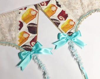 Gold Lace Snack Cake Garter Belt - Pick Your Size - LIMITED EDITION - Handmade Vegan Bridal