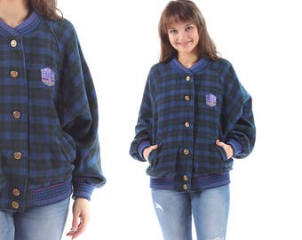 Plaid BOMBER Jacket 80s Navy Blue Buffalo Plaid WOOL Button Up Raglan Sleeves Vintage Unisex Jacket Oversized Baggy Hipster Medium to Large
