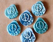 6 Handmade Ceramic Beads - Pinch top Peace Sign Beads - Primitive Hippie Beads - a Rainbow of Peace. Love and Goodvibes