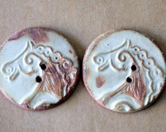 2 Extra Large Ceramic Horse Buttons - 1.5 inches in diameter - Brown Stoneware with Rustic Rust glaze - Handmade Focal Buttons -