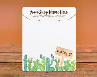Customize Jewelry Display Cards -  Southwest Cactus Garden with Sign - Earring Necklace Bows -Packaging  | DS0146