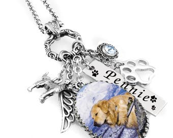 Dog Memorial Jewelry, Dog Memorial Necklace, Personalized Pet Memorial Necklace, Pet Remembrance Necklace, Loss Of Pet
