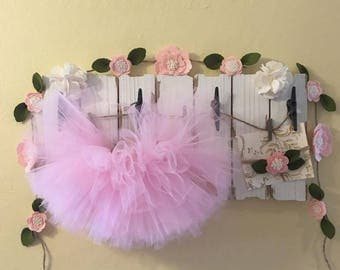 Pink Toddler Baby Girl Tutu, Headband and Garland - Great Photo Prop