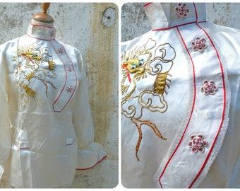 Vintage Antique Asian 1930s  embroidered cream satin pajama top /Dragon